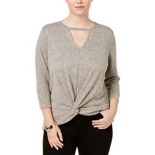 Almost Famous Womens Plus Pullover Sweater Keyhole Front Knot