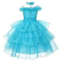 The Rain Kids Baby Girls Turquoise Organza Off Shoulder Flower Girl Dress 6-24M