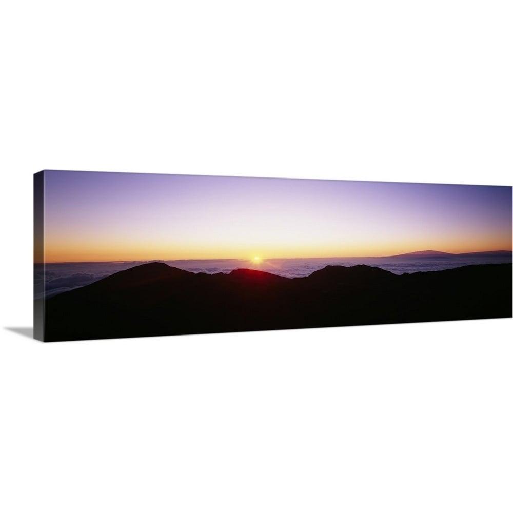 Silhouette Of Mountains At Sunrise Haleakala Maui Hawaii Canvas Wall Art Overstock 16868928