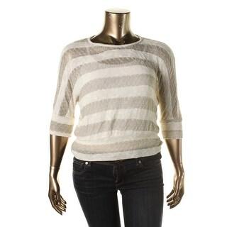 BCX Womens Juniors Metallic Striped Pullover Sweater - XS