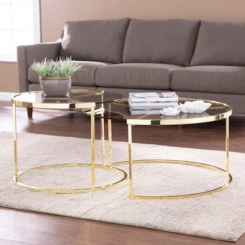 Silver Orchid Marlei Brass Glass Cocktail Table Set (Set of 2)