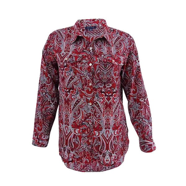 3251b2a734 Shop Tommy Hilfiger Women's Cotton High-Low Shirt - Bright Scarlet - Free  Shipping On Orders Over $45 - Overstock - 23147243