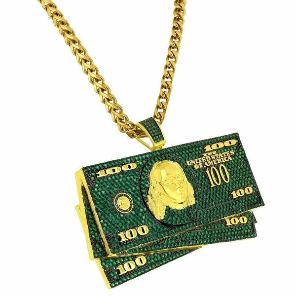 Shop 100 Dollar Bills Pendant Green Iced Out Gold Tone