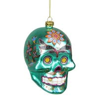 "4"" Day of the Dead Green Glitter Embellished Skull Christmas Ornament"