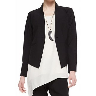 Eileen Fisher NEW Black Womens Size 6 High Back Lapel Two-Pocket Blazer