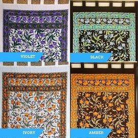 Handmade French Floral Tab Top Curtain 100% Cotton Drape Door Panel in Ivory Blue Black Amber & Violet