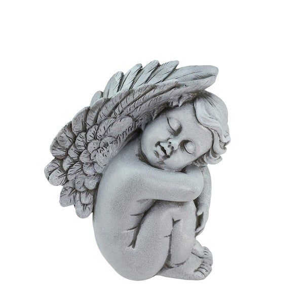 "7"" Heavenly Gardens Gray Right Facing Sleeping Cherub Angel Outdoor Patio Garden Statue"