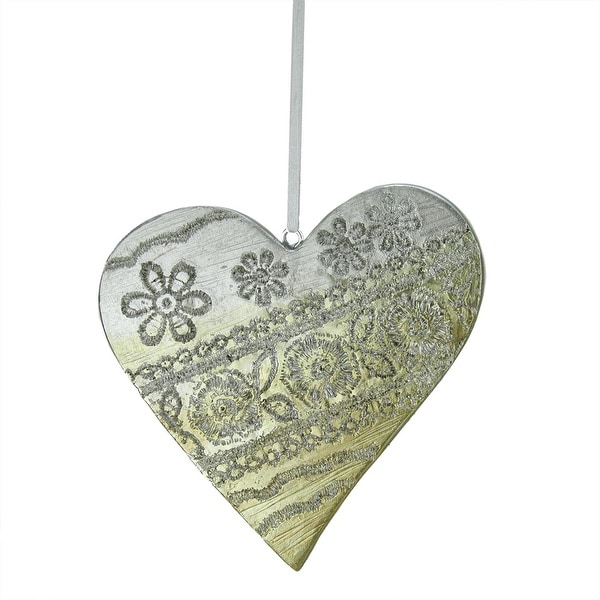 "3.75"" Happy Holidays Sliver and Gold Carved Polyresin Heart Christmas Ornament"