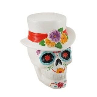 White Ceramic Day of the Dead Sugar Skull Candy Dish