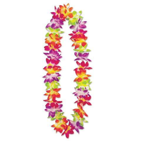 "Set of 12 Multi-Colored Design Maui Floral Lei 36"""