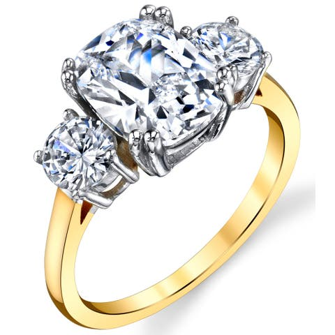 Oliveti Sterling Silver 925 Meghan Markle 14K Plated Cushion CZ Engagement Ring