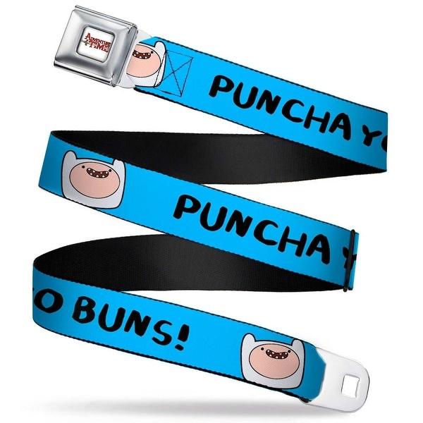 Adventure Time Logo White Full Color Finn Face Puncha Yo Buns! Blue Webbing Seatbelt Belt