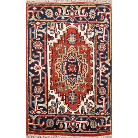 "Geometric Heriz Oriental Home Decor Area Rug Wool Handmade Rust Carpet - 1'11"" x 2'11"""