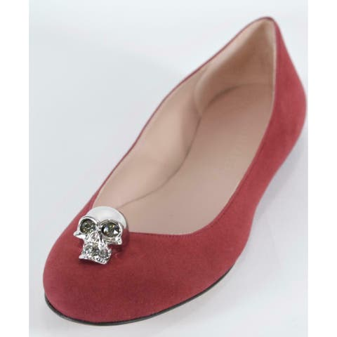 Alexander McQueen Burgundy Suede SKULL Hardware Ballet Flats Shoes 9.5