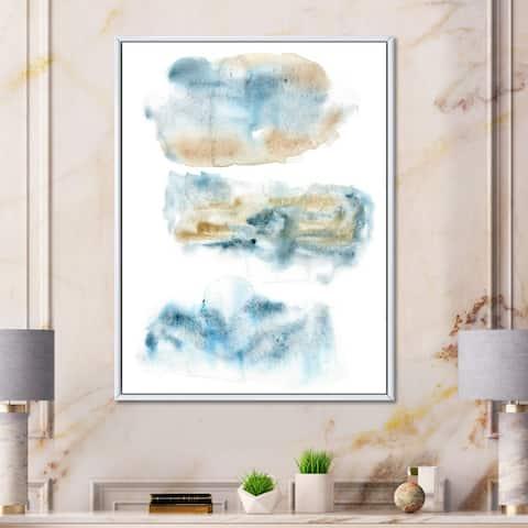 Designart 'Abstract of Dark Blue Clouds III' Modern Framed Canvas Wall Art Print