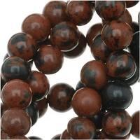 Mahogany Obsidian Round Beads 4mm Diameter 15.5 Inch Strand