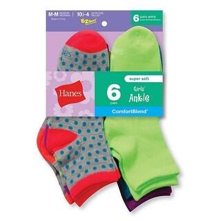 Hanes Girls' Fashion ComfortBlend Ankle Socks 6-Pack - L