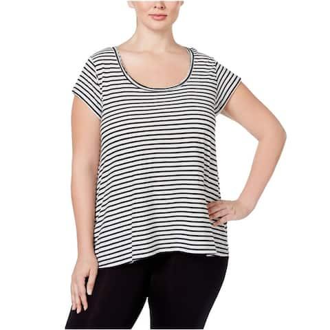 Calvin Klein Womens Striped Hi-Lo Graphic T-Shirt