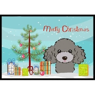 Carolines Treasures BB1631JMAT Christmas Tree & Silver Gray Poodle Indoor or Outdoor Mat 24 x 36