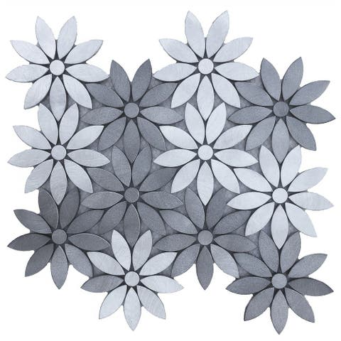 Modern Flower Design - Aluminum Mosaic Tile 11.8x10 (11 tiles/9 Sqft)
