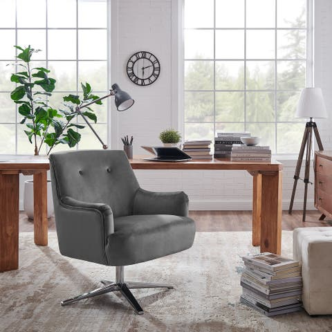 Art Leon Modern Velvet Swivel Home Office Chair with Chrome Base