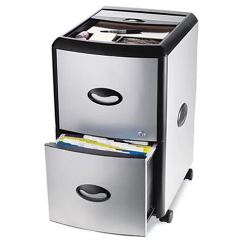Mobile Filing Cabinet With Metal Siding 19w x 15d x 23h Black/Silver