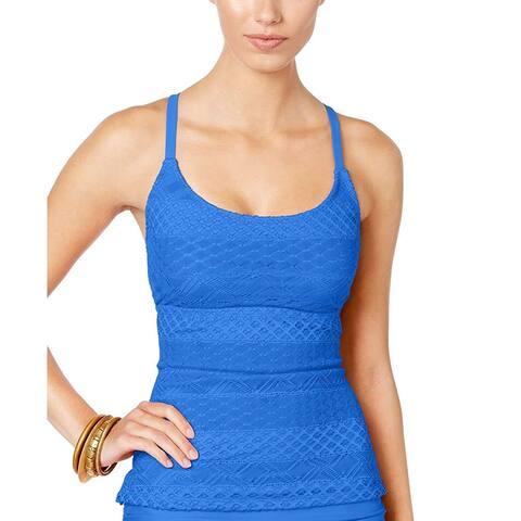 Island Escape Women's Lace Push-Up Tankini Top, Blue (8) - 8