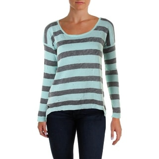 Central Park West New York Womens Linen Striped Pullover Sweater
