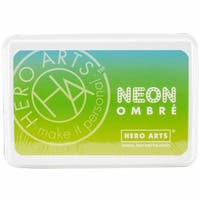 OMBRE-AF329 Hero Arts Ombre Ink Pad, Chartreuse To Blue