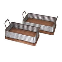 """Set of 2 Brown and Gray Metal Elegant Industrial Decorative Wood Trays 26.5"""""""