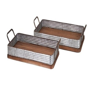 Set of 2 Brown and Gray Metal Elegant Industrial Decorative Wood Trays 26.5