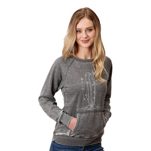 Roper Western Sweatshirt Womens Raglan Sleeve Gray