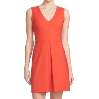 1. State NEW Orange Womens Size Medium M V-Neck Pleated Sheath Dress