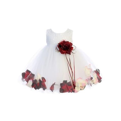 Kids Dream Baby Girl White Burgundy Sequin Petal Floating Flower Girl Dress 6-24M