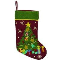 """18"""" O Christmas Tree Deep Burgundy and Green Plush Textured Christmas Stocking"""