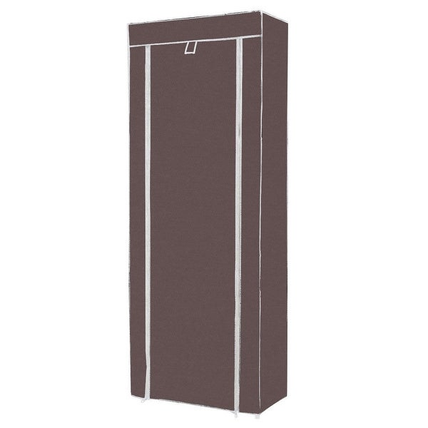 10 Tier Space Saving Shoe Tower Rack with Fabric Cover-Brown