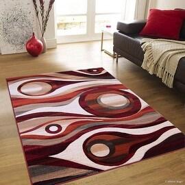 """Allstar Orange Hand Carved Indian Print Design Area Rug (5' 2"""" x 7' 2"""")"""