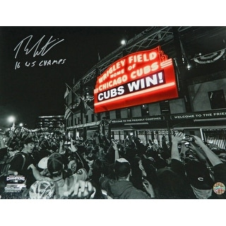 Theo Epstein Signed Chicago Cubs Wrigley Field Marque 'Cubs Win' Spotlight 16x20 Photo w/16 WS Champs