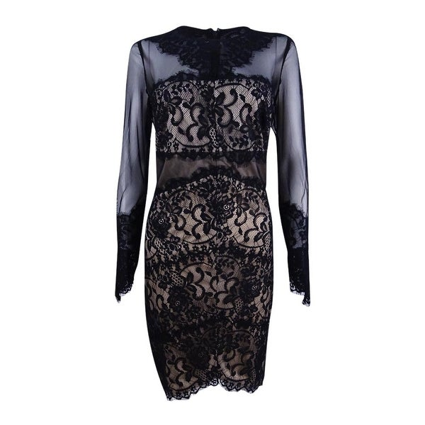 fcc1537b Shop Jax Women's Illusion Mesh Lace Sheath Dress (10, Black/Nude) - Black/ Nude - 10 - Free Shipping Today - Overstock - 21426059