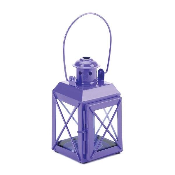 Antique Purple Railway Candle Lantern Lamp