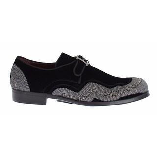Dolce & Gabbana Black Velvet Gray Sequined Baroque Shoes - 42