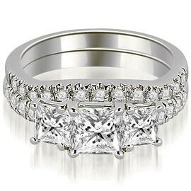 1.40 cttw. 14K White Gold Lucida Three-Stone Princess Cut Bridal Set
