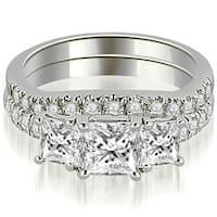1.90 cttw. 14K White Gold Lucida Three-Stone Princess Cut Bridal Set