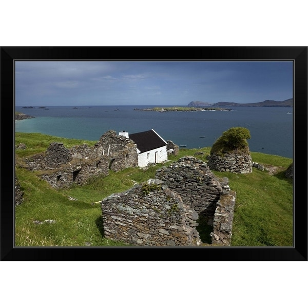 """Cottage and Deserted Cottages on Great Blasket Island, County Kerry, Ireland"" Black Framed Print"