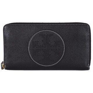 """Tory Burch Black Leather Perforated Zip Around Wallet - 7.6"""" x 4"""""""