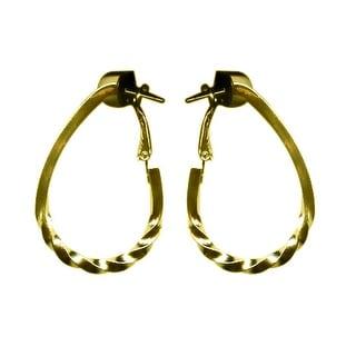 max & MO Bottom Twist Pear Shaped Hoop Earring