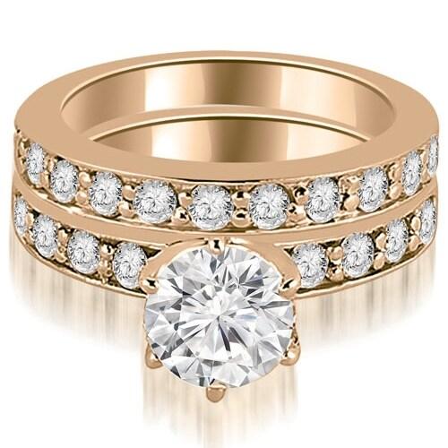 1.95 cttw. 14K Rose Gold Round Cut Diamond Engagement Matching Set