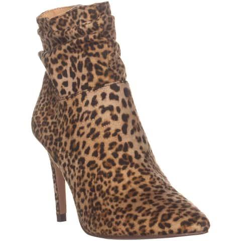 XOXO Taniah Pointed Toe Ankle Boots, Leopard - 6.5 US / 37.5 EU
