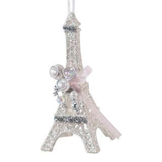 Glittered Eiffel Tower with Beads Christmas Holiday Ornament