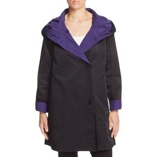 Eileen Fisher Womens Petites Basic Coat Hooded Reversible - pp